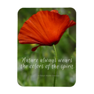 Red Poppy Emerson Nature Quote Magnet