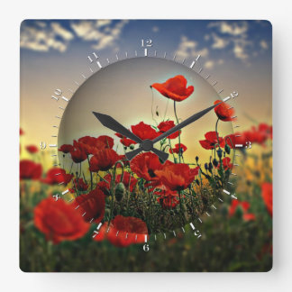 Red Poppy Field Square Wall Clock