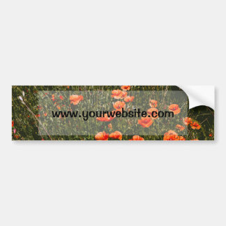Red Poppy Field, Wildflowers Meadow, Nature Car Bumper Sticker