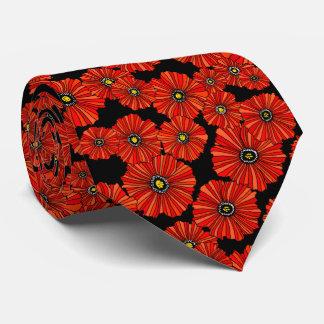 Red poppy floral necktie