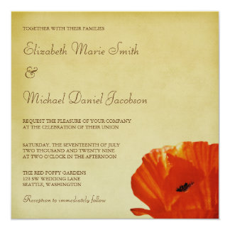Red Poppy Flower Blossom Wedding Card