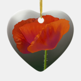 Red Poppy Flower Ceramic Heart Decoration