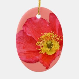 Red Poppy Flower Ceramic Ornament