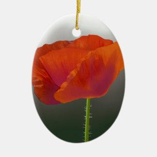 Red poppy Flower Ceramic Oval Decoration