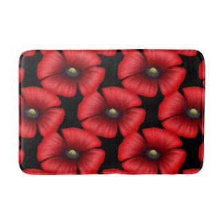 Red Poppy Flower Head Pattern Bath Mat Bath Mats