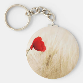 Red Poppy Flower in Field of Ripe Cereals Key Ring