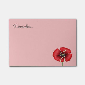 Red Poppy Flower Monogram on Pink Sticky Post-it® Notes