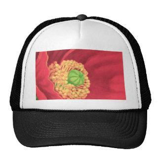 Red Poppy Flower Painting Art - Multi Hat