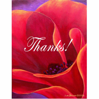 Red Poppy Flower Painting with Thank You Standing Photo Sculpture