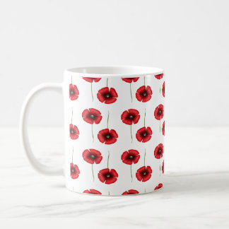 Red Poppy flower pattern Mug