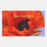 Red Poppy Flower Rectangular Stickers