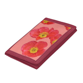 Red Poppy Flower Tri-fold Wallets