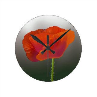 Red poppy Flower Wallclocks