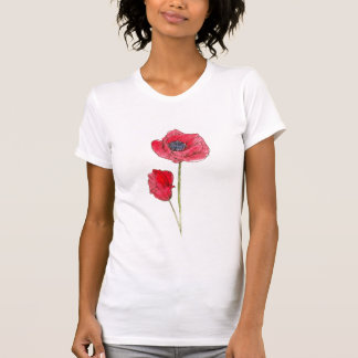 Red Poppy Flower Watercolor Botanical Art T Shirts