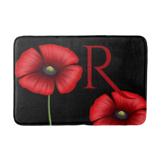 Red Poppy Flowers Custom Initials Black Bath Mat Bath Mats