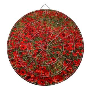 Red Poppy Flowers Dartboard