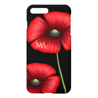 Red Poppy Flowers Monogram on Black iPhone 7 Plus Case