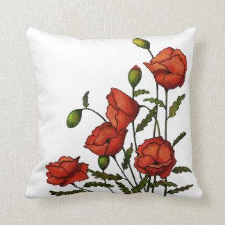 Red Poppy Flowers: Original Artwork Cushion