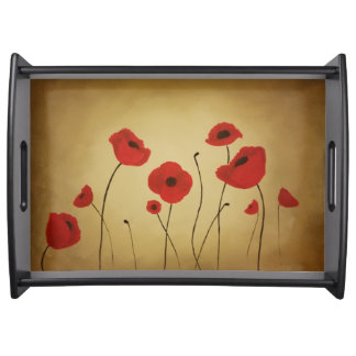 Red Poppy Flowers Serving Tray