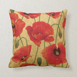 Red Poppy Flowers Throw Pillow