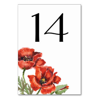 Red Poppy Flowers Wedding Table Cards