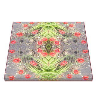 Red Poppy Fractal 2 Wrapped Canvas