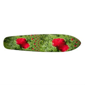 Red Poppy Fractal Skateboard Deck