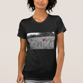 red poppy in a black and white field tee shirt