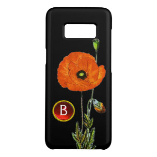RED POPPY IN BLACK RUBY GEMSTONE MONOGRAM Case-Mate SAMSUNG GALAXY S8 CASE