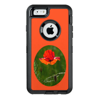 Red poppy in summer 02 OtterBox defender iPhone case