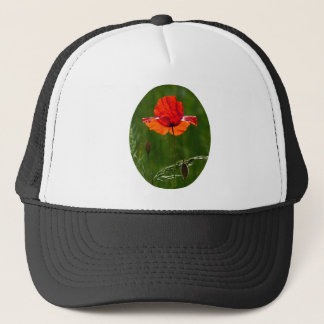 Red poppy in summer 02 trucker hat