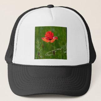 Red poppy in summer trucker hat