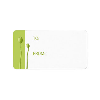 Red Poppy lime Gift Tag Address Label