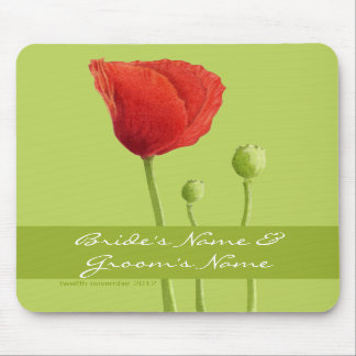 Red Poppy lime Wedding Mousepad
