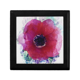 Red Poppy Magnetic Wooden Gift Jewellery Box M #1