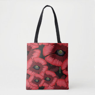 Red Poppy Pattern All-Over-Print Tote Bag