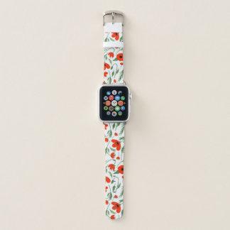Red Poppy Pattern Apple Watch Band