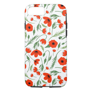 Red Poppy Pattern iPhone 7 Case