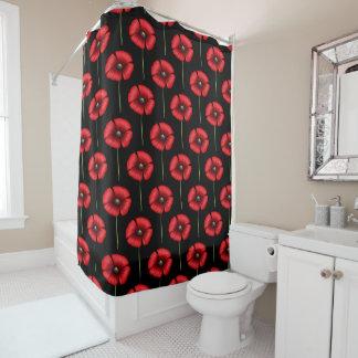Red Poppy Pattern on Black Shower Curtain