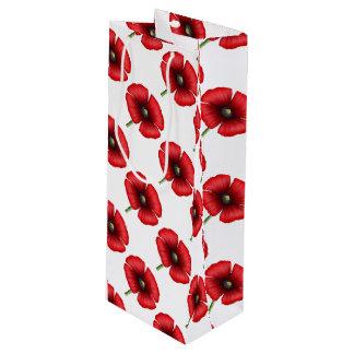 Red Poppy Pattern Tall Gift Bag
