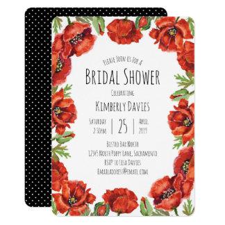 Red Poppy Polka Dot Bridal Shower Card
