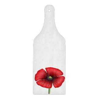 Red Poppy single stalk Glass Chopping Paddle Cutting Boards