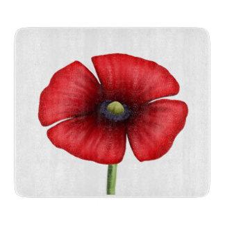 Red Poppy single stalk Small Glass Chopping Board Cutting Boards