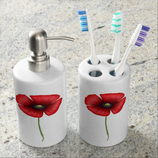 Red Poppy Soap Dispenser & Toothbrush Holder
