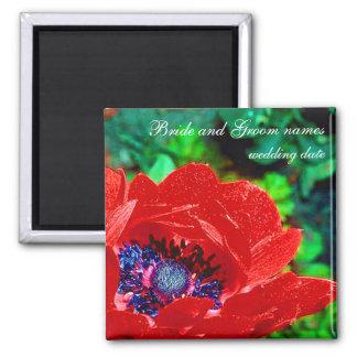 Red Poppy Square Magnet