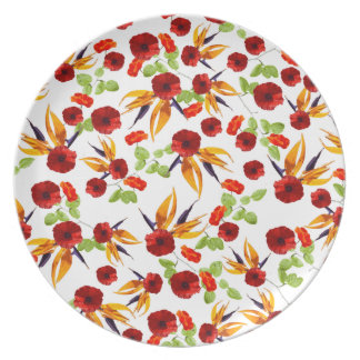 Red Poppy Star by Zala02Creations Plate