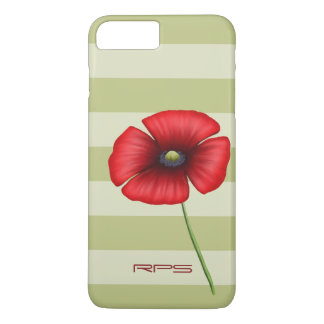 Red Poppy Stripe Monogram iPhone 7 Plus iPhone 7 Plus Case
