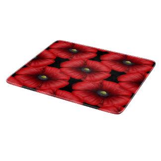 Red Poppy tiled on black Chopping Board