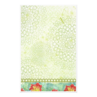 Red Poppy Watercolor Flowers Chatreuse Green Customized Stationery