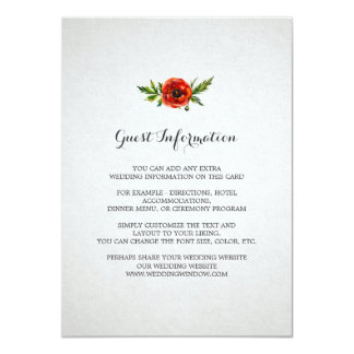 Red Poppy Wedding Insert Card 11 Cm X 16 Cm Invitation Card
